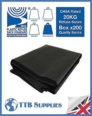 x200 Extra Heavy Duty Black Bin Rubbish Bag Refuse Sacks 18x29x39 20kg