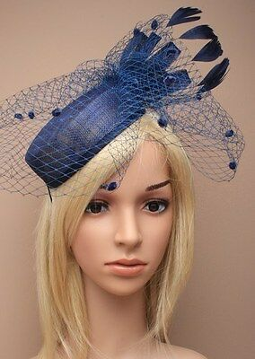 Large Navy Hat Fascinator Hatinator Weddings Ladies Day Race Royal Ascot