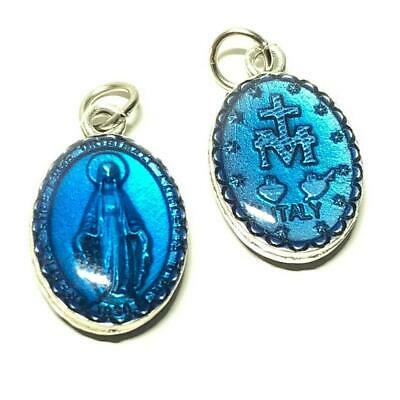 ⛪️ SMALL Miraculous Medal - Blue enamel Blessed by Pope pendant - Virgin Mary