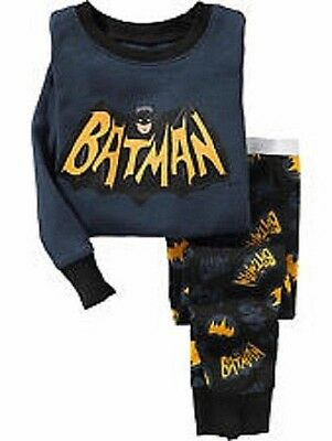 Old Navy DC Comics BATMAN Boys PJ (1 Set) 18-24M 2T 5T Long Sleeve Cotton Pajama