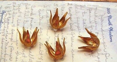 Raw Brass Leafy Bead Caps (4) - S3882  Jewelry Finding