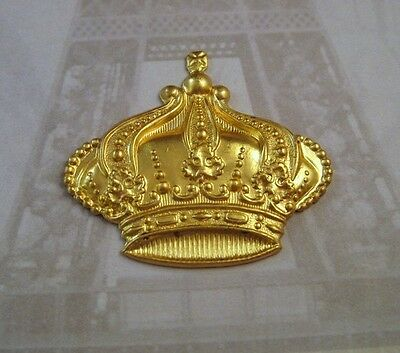 Large Raw Brass Crown Stamping (2) - FF3819 Jewelry Finding