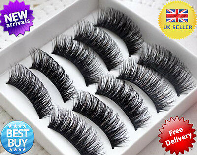 BEST !5 Pairs Long Thick Handmade Makeup Fake False Eyelashes Eye Lashes #3