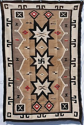 "Navajo Indian Rug C 1910's Bold Graphics Stars Arrows Whirling Log 72.5"" x 46"""