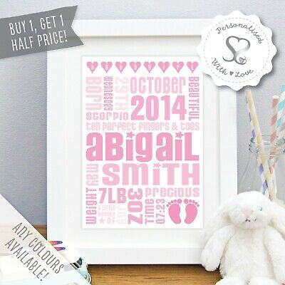 Personalised New Baby Birth Nursery Art Christening Print or Framed Picture Gift