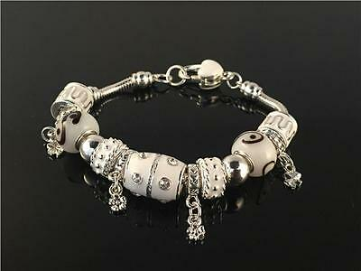 European 925 Sterling Silver Plated Charm Bracelet with Murano Glass Beads