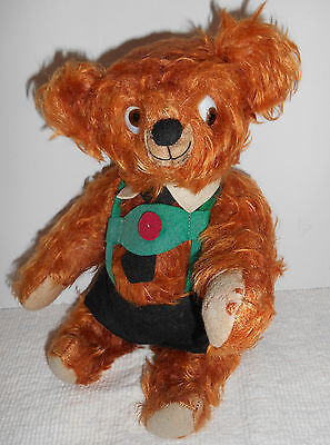 ESTATE/terrific  brown/orange  deep  long  mohair  CHARATER  TEDDY  BEAR  googly