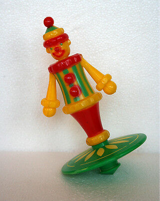 VINTAGE TOY TRANSOGRAM ROLY POLY  - TOP  HARD PLASTIC CIRCUS CLOWN EXCELLENT