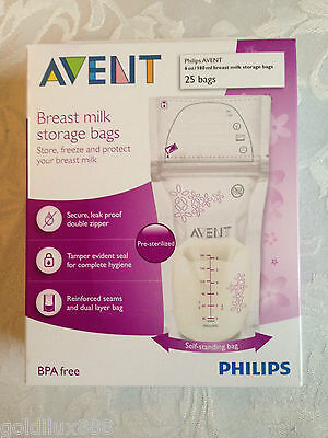 AVENT Breast Milk Storage Bags x25 Pre-Sterilised 180 mls BPA free Baby