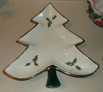 Vintage Christmas tree bowl dish artist signed Alice Combs 1962 hand painted