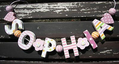 """sophia"" Wooden Letters Name Decoration Personalised Shabby Chic Baby Nursery"
