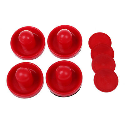 4 Air Hockey Table Goalies with 4 Puck Felt Pusher Mallet Grip Color Red WS
