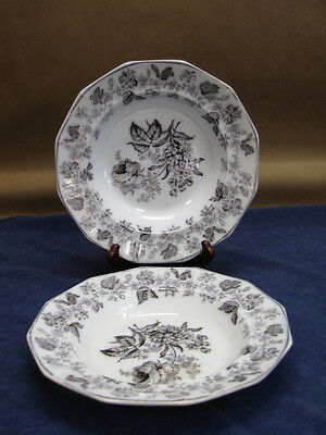 "(2) EARLY IRONSTONE TRANSFERWARE SOUP BOWLS, MULBERRY, ""WREATH"" c1840 set #5"