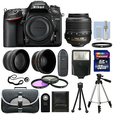 Nikon D7200 Digital SLR Camera Black + 3 Lens: 18-55mm Lens + 32GB Bundle