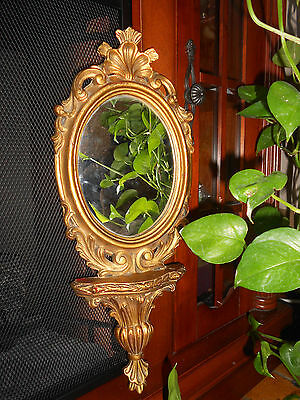 Antique Vintage Estate Ornate Gold Tone Wall Hanging Oval Mirror Italy
