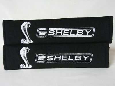 Embroidery Cool Black Seat Belt Cover Shoulder Pads Pair Shelby Mustang Cobra