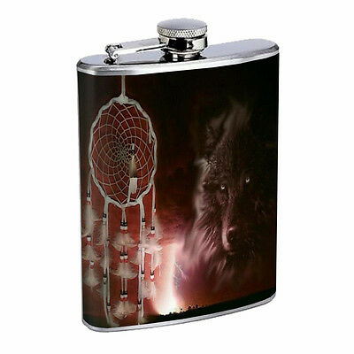 Dreamcatcher Flask D5 8oz Stainless Steel Native American Culture Willow Snare