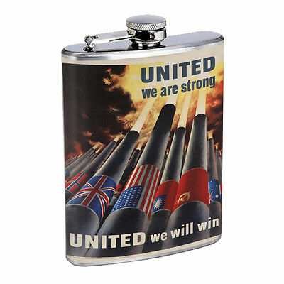 Vintage Propaganda Ad Hip Flask D5 8oz Stainless Steel Political Advertistment