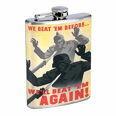 Vintage Propaganda Ad Hip Flask D11 8oz Stainless Steel Political Advertistment