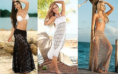 Vestito Mare Gonna Donna Copricostume Skirt Cover Up Dress Summer Lace 110067