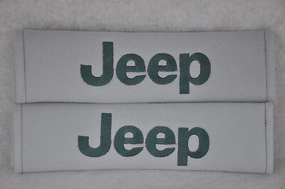 Cool JEEP Embroidery Car Seat Belt Cover Shoulder Pads Pair