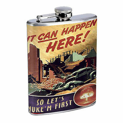 Vintage Propaganda Ad Hip Flask D22 8oz Stainless Steel Political Advertistment