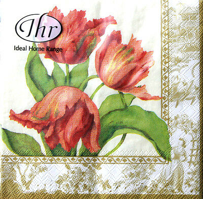 iHR Paper Cocktail Beverage Napkins 20ct - My Lady Tulips Peach w/Cream