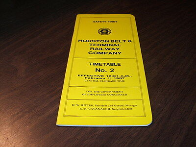 February 1987 Hb&t Houston Belt & Terminal Employee Timetable #2