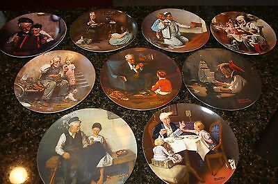 Set of 9 Norman Rockwell Plates