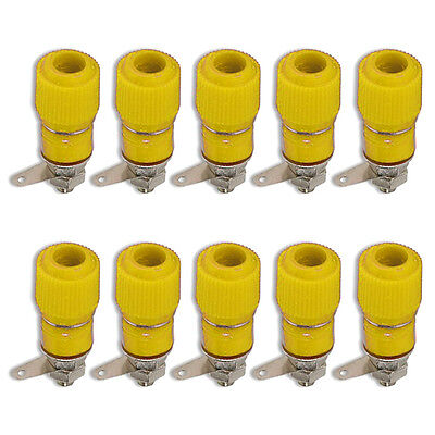 Binding Post Terminal Speaker Amplifier Test Plug Socket Connector Yellow x 10