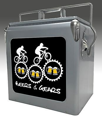 Beers & Gears 13qt Retro Metal Ice Chest/Cooler