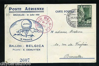 1935 Gordon Bennett Training Flight Balloon Race Belgium  Postcard