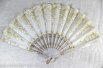 Spanish Brocade Floral Fabric Lace Folding Hand Dancing Wedding Party Decor Fan