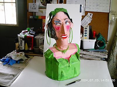 paper mache bust GYPSY in green hoops and attire