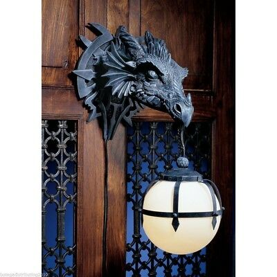 "Dragon Head Dungeon Wall Lamp Figurine Statue Protector Large 16""H Gothic Theme"