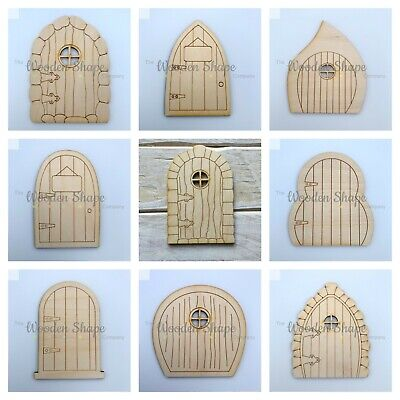 6 pack Assorted design Fairy Doors 10.5cm high ready to decorate astC