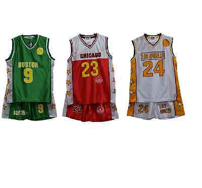Boys Basketball Kids  Vest Football Top & Shorts Summer Set Kit 3-13 Years Bnwt