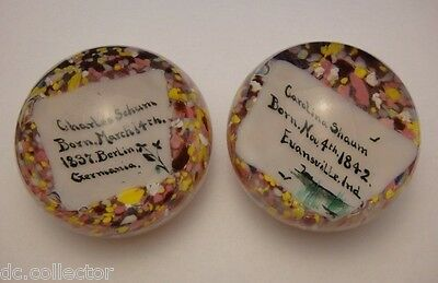 PAIR ANTIQUE 19th CENTURY MEMORIAL GLASS PAPERWEIGHTS-EVANSVILLE INDIANA-GERMANY