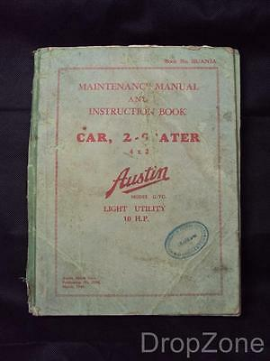 Maintenance Manual And Instruction Book for Austin Model G/YG  2-Seater 10 H.P.