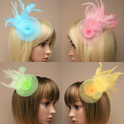 Feather Fascinator Hat Clip Corsage Hair Flower Weddings Races Ladies Day Ascot