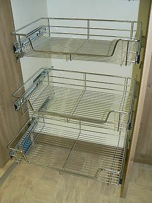 3 X Pull out Wire Basket Chrome Kitchen - Bedroom Drawer Storage (500 or 600mm)