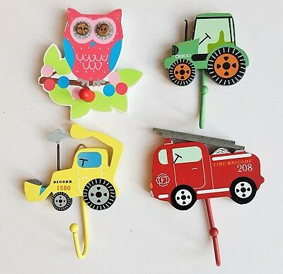 Butterfly Owl Wall Track Hook Pink & White Children  Bedroom Decoration Gift