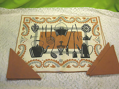 NEW 8 pcs Vintage Kitchen Utensils Themed Cloth Place Mats & Cloth Napkins