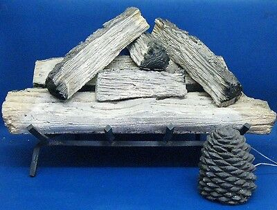 Robert H Peterson Fireplace Split Oak Ceramic Log Set with Pine Cone Remote