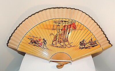 Wood and Cloth Fan with Bull Fight Scene over 9 inches (8791)
