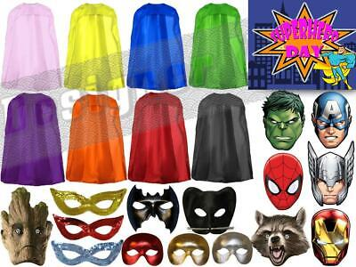Superhero Day Capes Masks Marvel DC Comic Book Adults Kids Childrens Fun Run