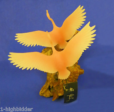 Vintage 1970s John Perry Resin 'Double Flying (Pink) Flamingos' Drift Wood Base