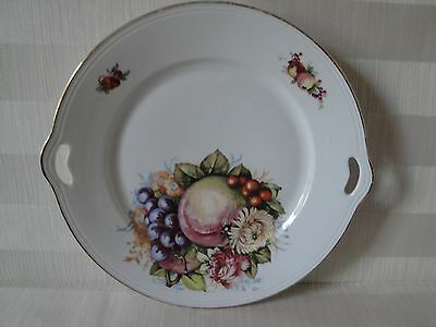 Vintage White Germany CT Altwasser Silesia Handpainted Handled Plate