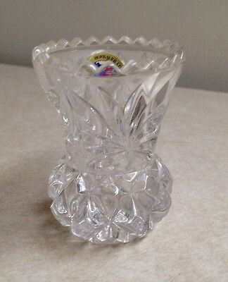"""Echt Bleikristall Hofbauer Collection 24% Lead Crystal Bud Vase 2"""" X 2.5"""" Clear"""