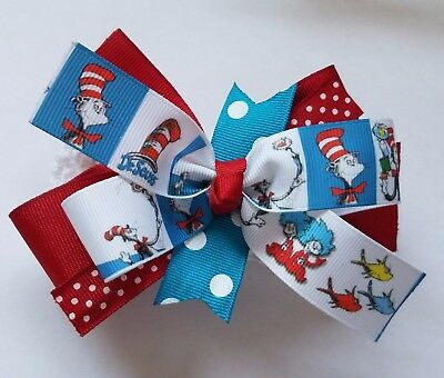 Dr. Seuss Thing 1 Thing 2 Hair Bow With or W/O Headband Baby Toddler*SHIPS FREE